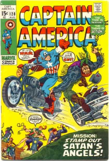 Captain America 128 - Captain America - The Time Is Now - The Theme Is Action - Marvel Comics Group - Motorcycle