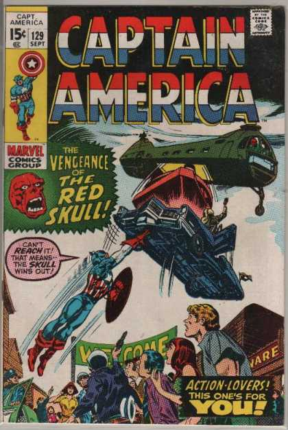 Captain America 129 - Approved By The Comics Code - Superhero - Shield - Helicopter - Car