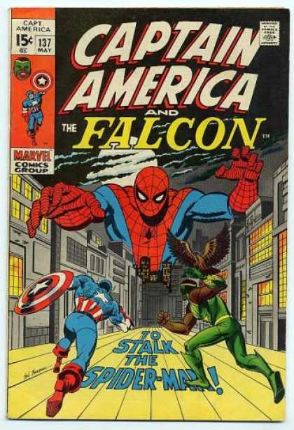 Captain America 137 - The Falcon - Spiderman - No 137 - May - To Stalk The Spider-man - Sal Buscema