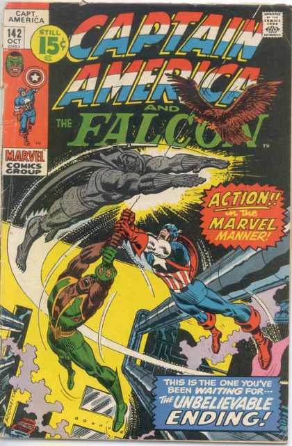 Captain America 142 - 142 Oct - Falcon - Unbelievable Ending - Flying - Marvel Comics
