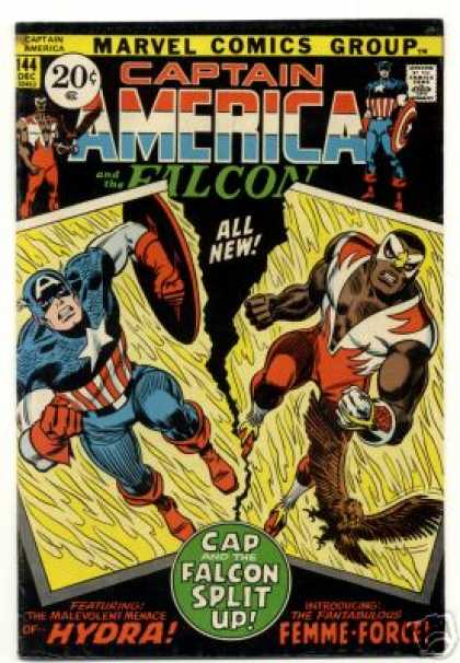 Captain America 144 - Marvel Comics - The Falcon - Comics Code Authority - 20 Cents - Hydra