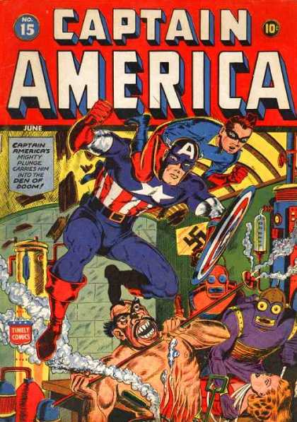 Captain America 15 - Captain America - Mighty Plunge Carries Him Into The Den Of Doom - Timely Comics - No 15 - America - Steve Epting