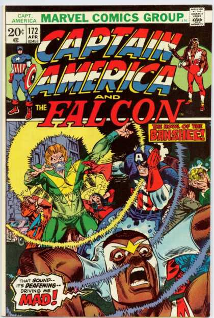 Captain America 172 - Captain America - Falcon - The Howl Of The Banshee - Covering Their Ears - Sonic Scream