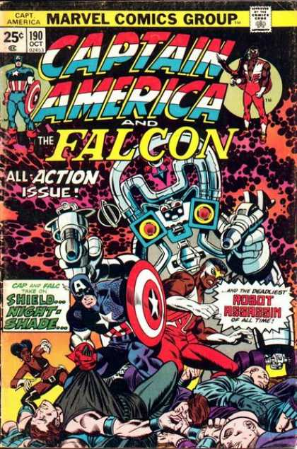 Captain America 190 - Marvel - The Falcon - All-action Issue - Robot Assaassih Of The Time - Shield Night Shade