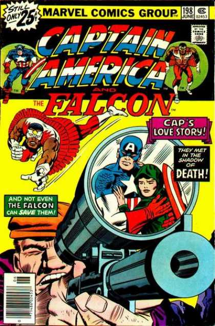 Captain America 198 - Caps Love Story - Shadow Of Death - The Falcon - Gun Scope - Bad Guy In Cap - Jack Kirby