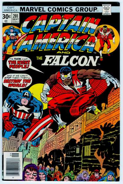 Captain America 201 - Marvel - The Falcon - Costume - City - Moon - Jack Kirby