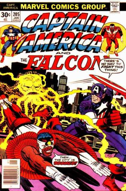 Captain America 205 - Marvel Comics - The Falcon - Electric Octopus - City Buildings - Star - Jack Kirby