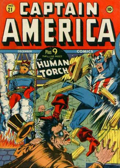 Captain America 21 - Human Torch - Restraints - Patriotism - Top Hat - Pistol - Steve Epting