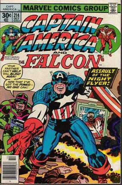 Captain America 214 - Marvel Comics Group - Falcon - Assault Of The Night Flyer - Shield - Blind Man - Jack Kirby