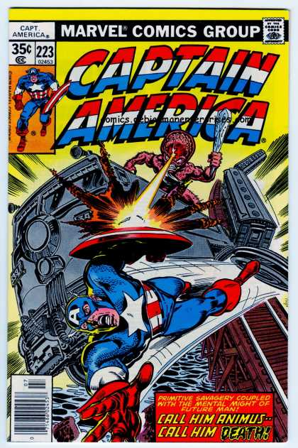 Captain America 223 - Brain - Train - Shield - Mind-ray - Explosion