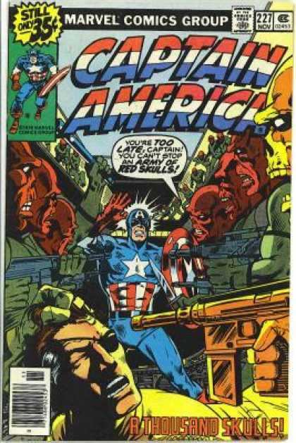 Captain America 227 - Army Of Red Skulls - Battle - Gun - Marvel Comics Group - Too Late