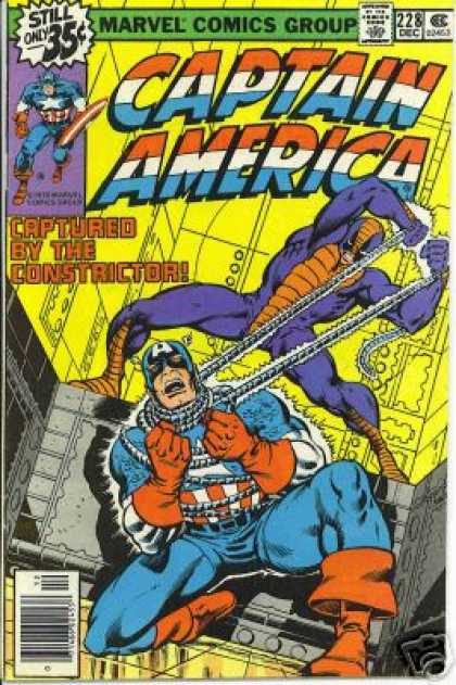 Captain America 228 - Captured - Tied Up - Choke Hold - Constrictor Strikes - Captain America In Trouble