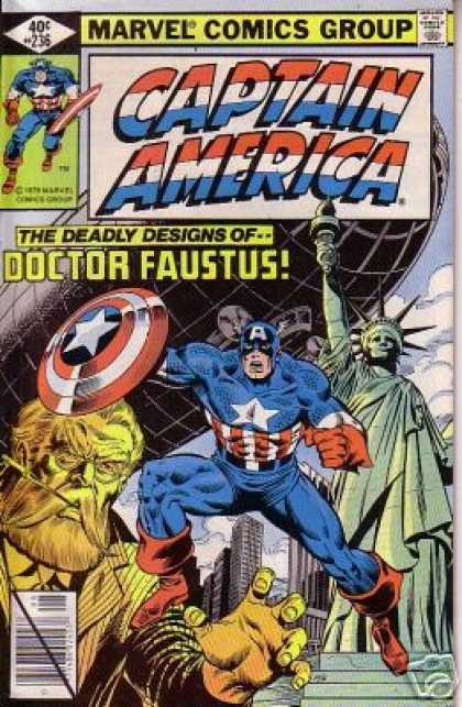 Captain America 236 - Marvel Comics Group - Blimp - Statue Of Liberty - The Deadly Designs Of Doctor Faustus - New Yourk City