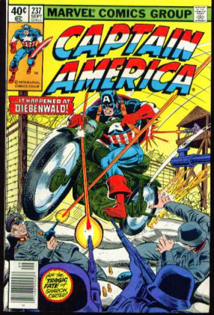 Captain America 237 - Diebenwald - Police Shooting A Super Hero - Red White Blue - Comic On Motorcycle - A On Comics Head