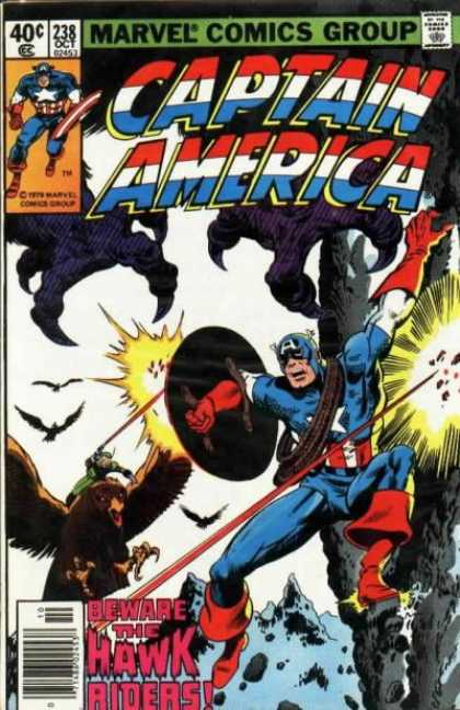 Captain America 238 - The Hawk Riders - Talons - Shooting - Rope - Attack - John Byrne