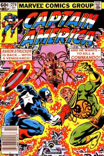 Captain America 274 - Captain America - Baron Strucker Is Back - To Kill A Commando - Electricity - Old Comics