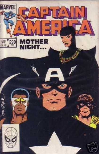 Captain America 290 - Mother Night - Heroes - Winged Cap - Black Cape - Stern Look - John Byrne