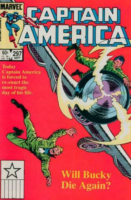 Captain America 297 - Airplane - Man Falling - Man Holding Onto Plane - Will Bucky Die Again - Red Background