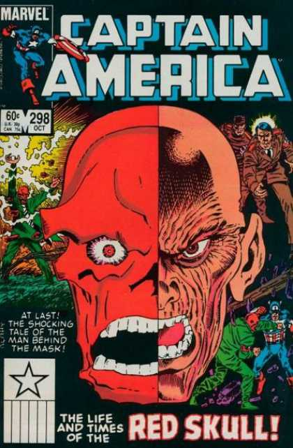 Captain America 298 - Marvel - Mask - Red Skull - Sixty Cents - Two Face