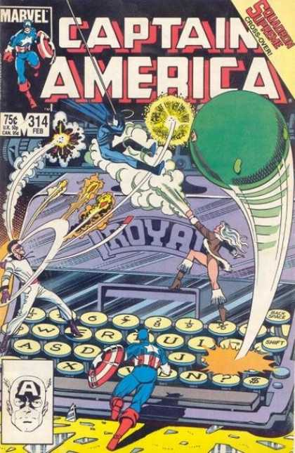 Captain America 314 - Marvel - February - 75 Cents - Shield - Typewriter - John Byrne