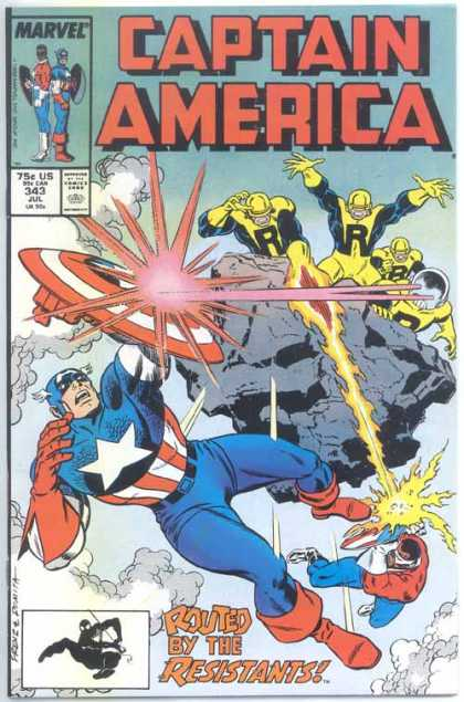 Captain America 343 - Reflection - Team - Lasers - Flame - Smoke