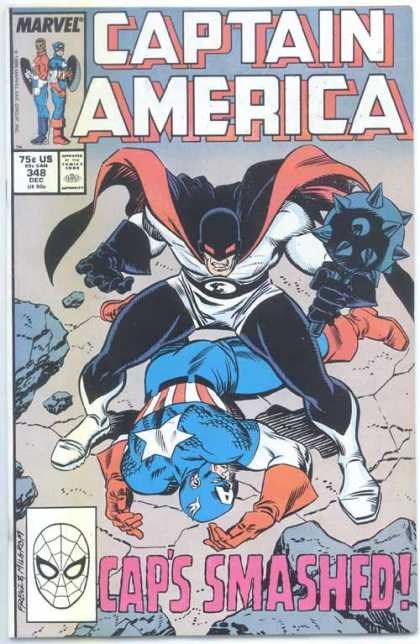 Captain America 348 - Marvel - Caps Smashed - Mace - Man Lying On Ground - Black Mask