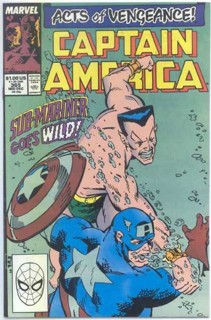 Captain America 365 - Act Of Vengeance - Sub-mariner - Sub-mariner Goes Wild - Air Bubbles - Shield