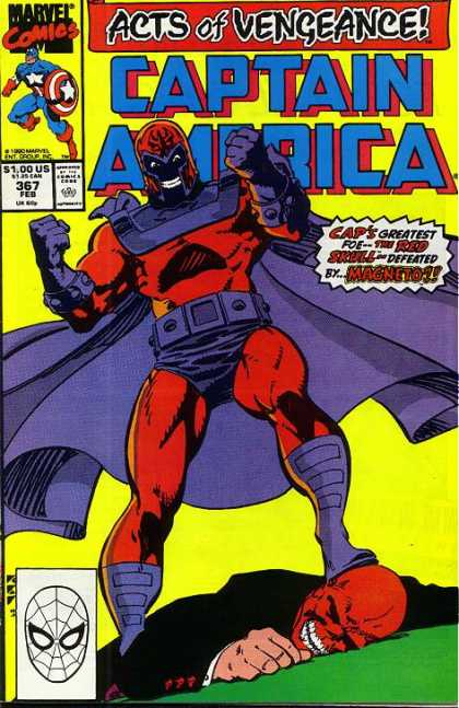 Captain America 367 - Marvel Comics - Acts Of Vengence - The Red Skull - Magneto - Mutant