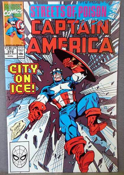 Captain America 372 - Streets Of Poison - Captain America - City On Ice - Shield - Cityscape - Ron Lim