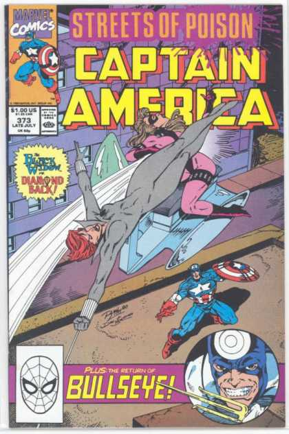 Captain America 373 - Streets Of Poison - Marvel Comics - Return Of Bullseye - Black Widow - Diamond Back - Ron Lim