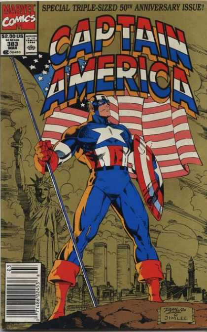 Captain America 383 - Marvel Comics - Special Triple-sized 50 Th Anniversary Issue - Approved By The Comics Code - Shield - Flag - Jim Lee, Ron Lim