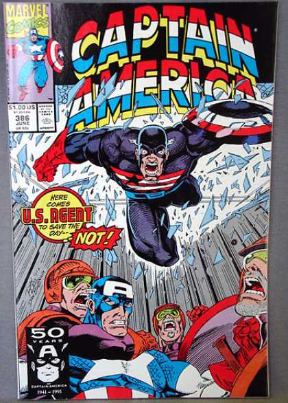 Captain America 386 - Broken Glass - Here Comes Us Agent To Save The Day - Marvel - Headlock - Choking - Ron Lim