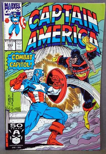 Captain America 393 - Marvel Comics - 393 - Combat Over The Capital - Skullbound - October 1991 - Ron Lim