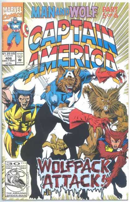 Captain America 406 - Man And Wolf - Part 5 Of 6 - Wolverine - Wolfpack Attack - 406