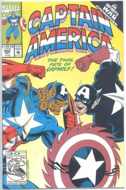 Captain America 408 - Marvel Comics - The Final Fate Of Capwolf - Star - 30th Anniversary - Shield