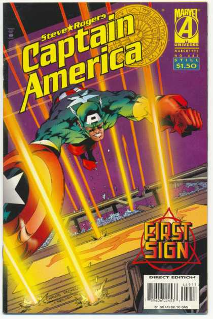 Captain America 449 - Steve Rogers - First Sign - Lasers - No 119 - Flying - Carlos Pacheco