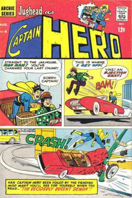 Captain Hero 6 - Archie Series - Approved By The Comics Code - Superhero - Car - Bus