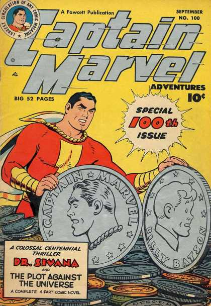 Captain Marvel Adventures 100 - Huge Coins - Fawcett Publication - Special 100th Issue - Dr Sivana - The Plot Against The Universe - Clarence Beck