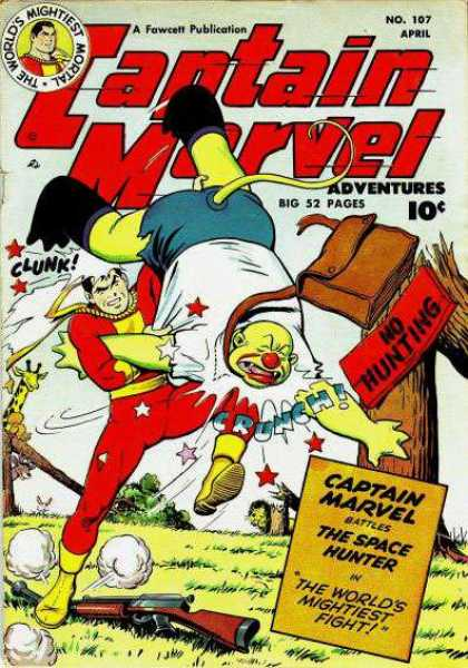 Captain Marvel Adventures 107 - Fawcett - April - 52 Pages - Space Hunter - No Hunting - Clarence Beck