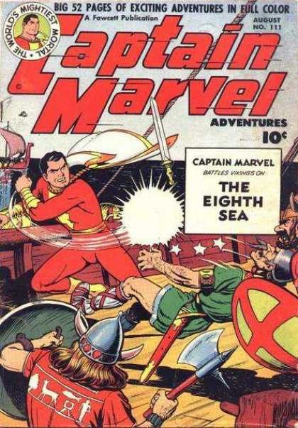 Captain Marvel Adventures 111 - Full Color - Eighth Sea - Shields - Helmets - Boats - Clarence Beck