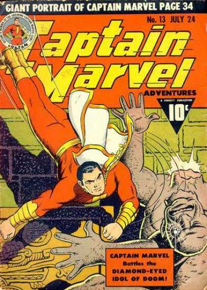 Captain Marvel Adventures 13 - Diamond - Cape - Red Suit - Monster - Power - Clarence Beck