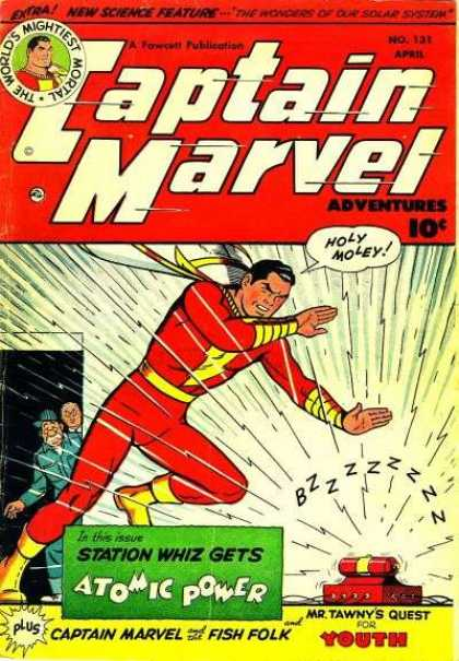 Captain Marvel Adventures 131 - Thw Worlds Mightiest Mortal - The Wonders Of Our Solar System - Atomic Power - Mr Tawny - Fish Folk - Clarence Beck
