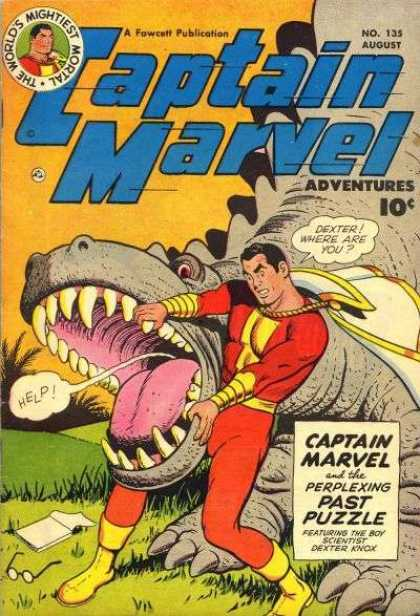 Captain Marvel Adventures 135 - Book - Glasses - Dinosaur - Teeth - White Cape - Clarence Beck