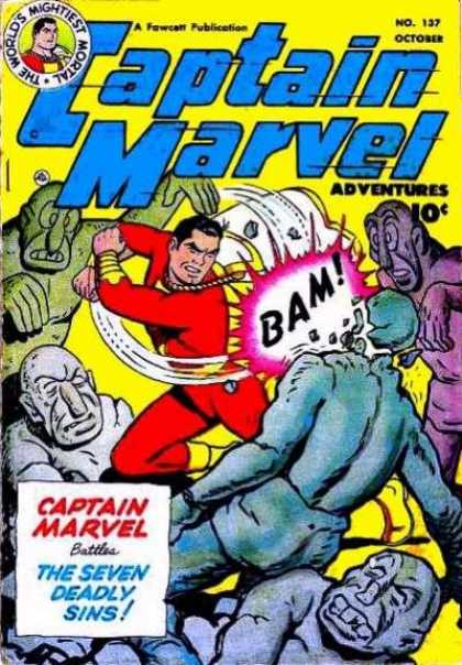 Captain Marvel Adventures 137 - The World Mightiest Mortal - October - Monster - Stone - Bam - Clarence Beck