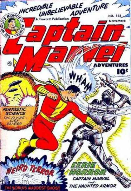 Captain Marvel Adventures 138 - Haunted Armor - Flying Disk Danger - Worlds Maddest Ghost - Suit Of Armor - Captain Marvel - Clarence Beck