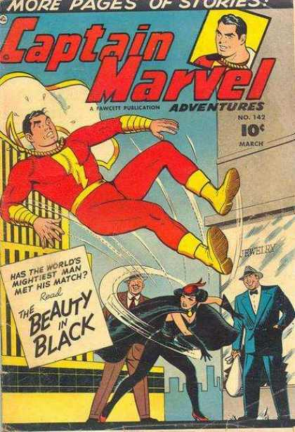 Captain Marvel Adventures 142 - Has The Worlds Mightiest Man Met His Match - The Beauty In Black - Cape - Jewelry - Sky - Clarence Beck