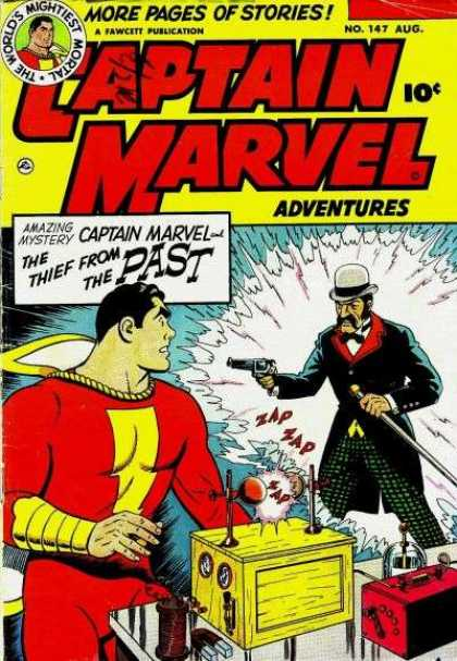Captain Marvel Adventures 147 - Thief From The Past - Time Travel - Invention - Danger - Gun