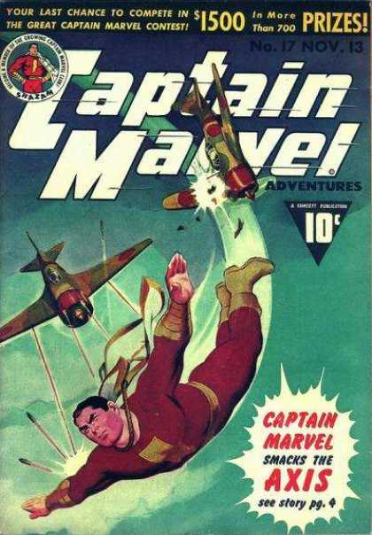Captain Marvel Adventures 17 - Airplane - 10 Cents - Aircraft - Superhero - Sky - Clarence Beck