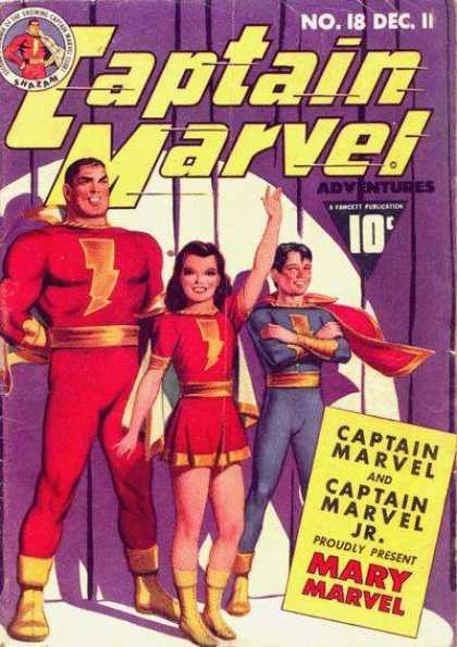 Captain Marvel Adventures 18 - Heros Family - Stage - Spotlight - Bolts - Purple Curtain - Clarence Beck