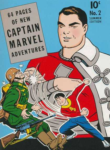Captain Marvel Adventures 2 - 64 Pages - Soldier - Fighting - Gun - Costume - Clarence Beck
